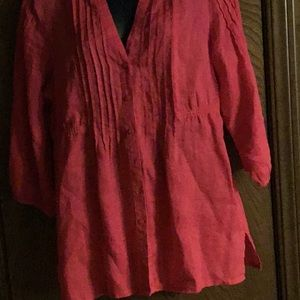 Chico's pink button down size 1 comfy shirt